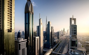 Picture the city, home, the evening, Dubai, Dubai, UAE, The motorway is named after Sheikh Zayed