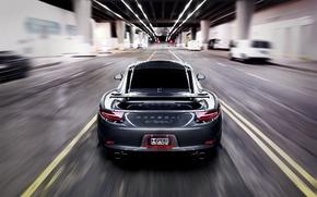 Picture road, grey, speed, blur, 911, Porsche, Porsche, road, grey, speed, back, Carrera, Carrera S