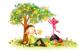 Picture grass, childhood, smile, fantasy, tree, figure, mushrooms, stars, girl, braids, dandelions, lawn, animal