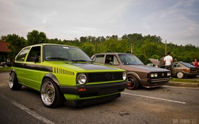 Picture volkswagen, golf, tuning, germany, low, stance