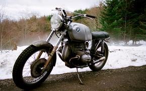 Picture BMW, road, bike, trees, winter, motorcycle, snow, custom, 1978, motorbike, mud, B.M.W, 1978 BMW R80/7, …