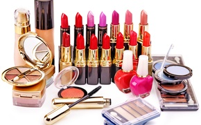 Picture mascara, shadows, cosmetics, blush, white background, lipstick, concealer, lucky