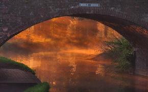 Picture sunset, bridge, fog, river, arch