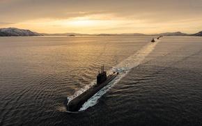 Picture sea, weapons, submarine, Submarine, course
