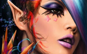 Picture look, butterfly, face, makeup, art, elf, ears