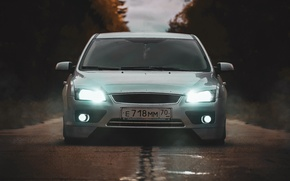 Picture road, forest, xenon, lights, tuning, sedan, Ford focus 2, Ford focus 2