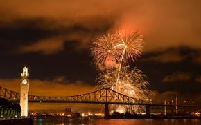 Picture night, bridge, the city, river, photo, salute, Canada, Montreal