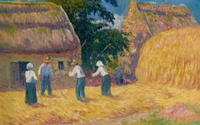 Picture house, people, picture, stack, yard, genre, Henri Moret, Threshing grain, motodiva, Threshing of Grain