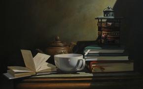 Picture table, wall, tea, books, mug, shadows, still life, page