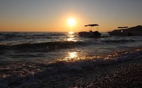 Picture sea, sunset, boats, Greece, Zakynthos, Alykes