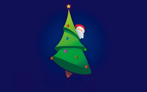 Picture balls, tree, new year, minimalism, vector, new year, Santa Claus, Santa Claus