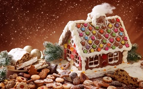 Wallpaper winter, holiday, magic, cookies, Christmas, sweets, house, snowfall, cakes, biscuit, snowflakes, xmas, season, glazed holiday, ...