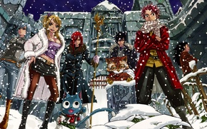 Wallpaper snow, girls, anime, art, guys, Fairy Tail, Tale of fairy tail, Ezra Scarlet, Juvia Loxar, ...