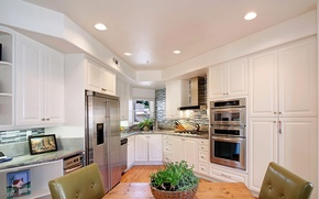 Picture furniture, interior, refrigerator, kitchen, headsets