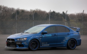 Picture the sky, blue, tuning, the fence, mitsubishi, blue, Mitsubishi, Lancer evolution, lancer evolution X