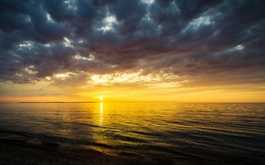 Picture sea, the sky, the sun, sunset, mountains, clouds