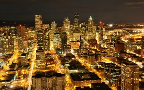 Picture lights, building, skyscrapers, backlight, Seattle, USA, USA, night city, Washington, Seattle, Washington