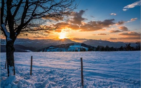 Wallpaper winter, field, snow, sunset, mountains, tree, posts