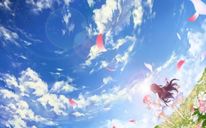 Picture field, the sky, clouds, flowers, smile, barefoot, petals, two girls, long hair, open mouth, short …