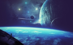 Picture space, science fiction, stars, planets, person