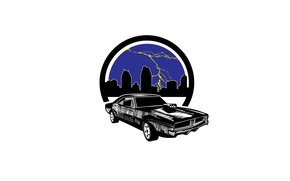 Picture the city, lightning, car, muscle car
