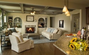 Wallpaper design, house, style, Villa, interior, living room, living room
