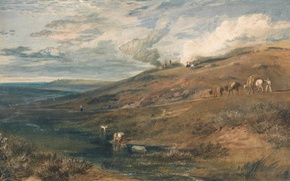 Picture landscape, river, stream, hills, picture, William Turner, Dartmoor - The Source of the Tamar and …