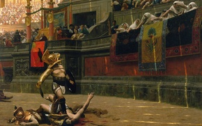 Wallpaper helmet, sand, battle, blood, the crowd, fighter, fight, gladiator, bread and circuses, Empire, death or ...
