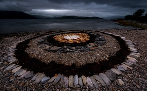 Picture night, stones, shore, Bay, Norway