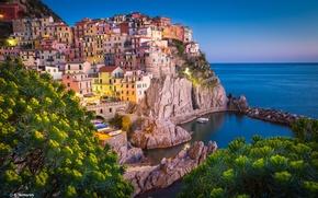 Picture landscape, the city, stones, rocks, shore, building, home, Italy, The Ligurian sea, Manarola, National park …
