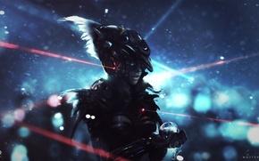 Picture girl, ball, art, sphere, sight, armor, laser, Horus