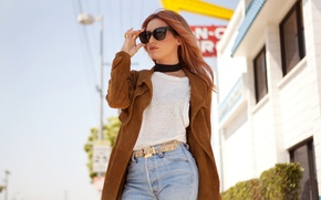 Wallpaper coat, home, actress, singer, Ashley Tisdale, the city, The Haute Mess, street, jeans, glasses, photographer, ...