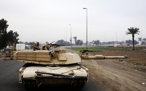 Picture house, war, street, tank, usa, abrams, military equipment