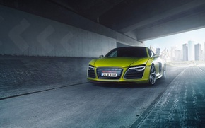 Picture Audi, Quattro, Yellow, V10, Supercar, More, Front, Film factory, Bodensee