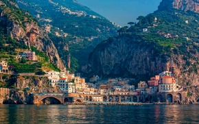 Picture sea, mountains, the city, home, Italy