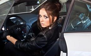 Wallpaper gloves, the wheel, auto, beautiful, brunette, makeup, hairstyle, singer, in black, kozhanka, jacket, Nyusha, Nyusha