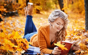 Picture autumn, girl, foliage, book