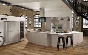 Picture interior, kitchen, loft style