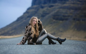 Wallpaper road, girl, legs, David Olkarny, Somewhere on the road