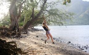 Wallpaper summer, girl, swing, mood, shore, entertainment