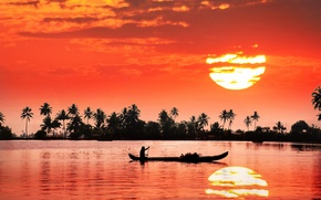 Picture the sun, sunset, reflection, river, shore, boat, people, India
