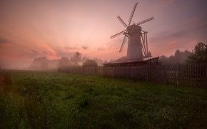 Picture greens, the sky, fog, sunrise, the fence, Mill