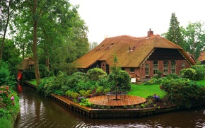 Wallpaper trees, flowers, design, house, lawn, garden, channel, Netherlands, the bushes, water, Giethoorn