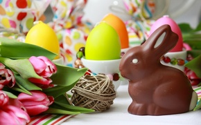 Wallpaper holiday, eggs, Easter, chocolate Bunny