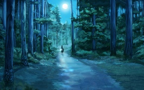 Picture forest, night, fireflies, the moon, figure, flashlight, girl, tree, path