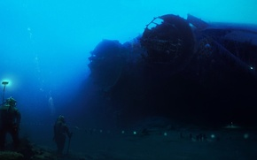 Picture sea, people, ship, diver, the skeleton, art, under water, scuba, expedition