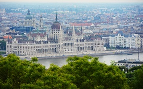 Picture panorama, architecture, panorama, architecture, Hungary, Budapest, The Danube, Budapest, the Parliament building, Danube, Hungarian Parliament