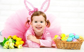 Picture holiday, eggs, rabbit, Easter, girl