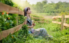 Picture girl, nature, face, the fence, owner