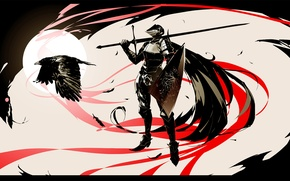 Picture darkness, sword, warrior, helmet, shield, knight, Raven, armor, dark souls